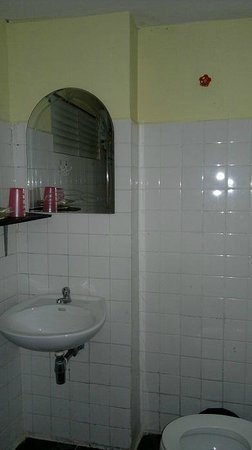 Laughing Fatman Guesthouse: Washbasin, mirror and amenities