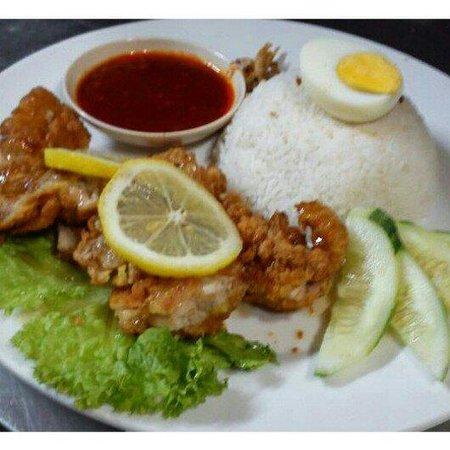 Bulan Kafe & Bistro : Bulan's Fusion Signature. A mixture of Malay & Chinese food. Nasi Lemak with Lemok Chicken.