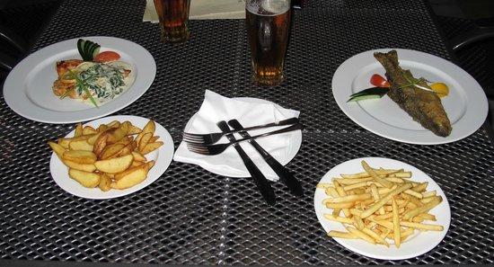 Hotel Skalni Mlyn : sx: petto di pollo con crema al limone e basilico, patate all'americana, a dx: trota e patate fr