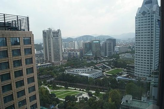 JW Marriott Hotel Hangzhou: view from our room; left bldg on foreground is Courtyard
