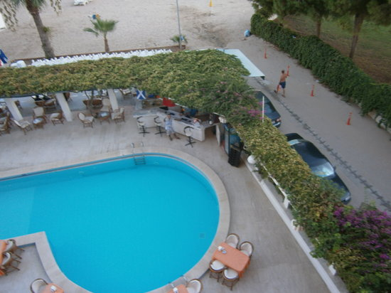 Orion Beach Hotel: View of the pool from the 3rd floor.
