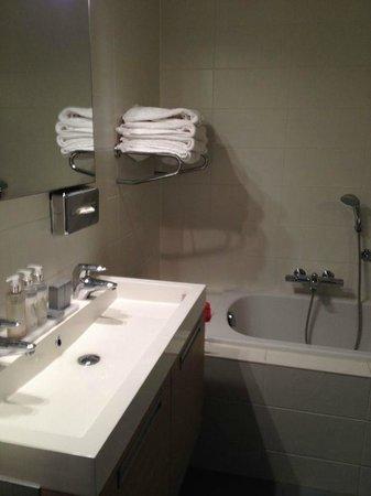 Vlierijck: Nette badkamer met bad en douchekabine