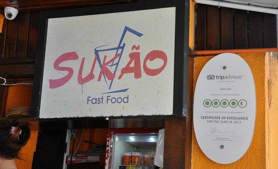 Sukao Bar : эмблема трипадвизора рядом с вывеской