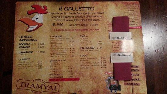 Fidenza, Italy: La tovaglietta / menù