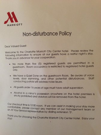 Charlotte Marriott City Center: Memo sent to all guests