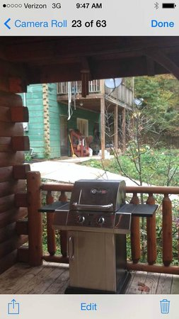 Elk Springs Resort: View from our front porch of Magic Moments cabin...not the privacy that was portrayed on the web