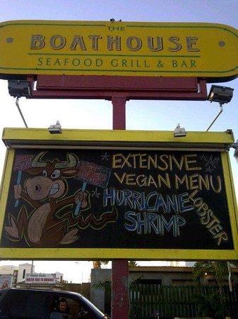 The Boathouse Restaurant: Vegan Menu Board