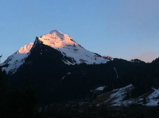 Chalet Alpine Refuge: Pointe de Nyon at sunset, spring 2013, from the terrace of the Alpine Refuge.