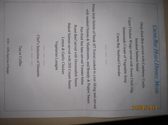 Carna Bay Hotel: Dinner Menu