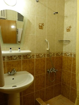 Hali Hotel: Bathroom with shower & toilet