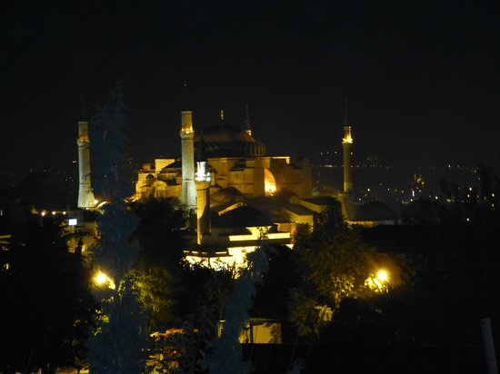 Hali Hotel: view from our room at night - Hagia Sophia