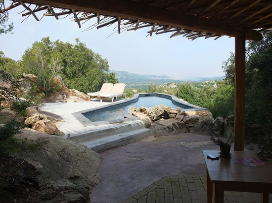Petra Segreta Luxury Resort & Spa: View from room 203 on private pool and Cannigione