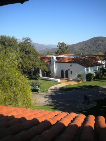 Ojai Valley Inn & Spa: view east - bird cage just beyond the trees