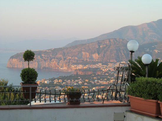 Hotel La Vue D'Or : View from the balcony across Bay of Naples as the sun was setting.