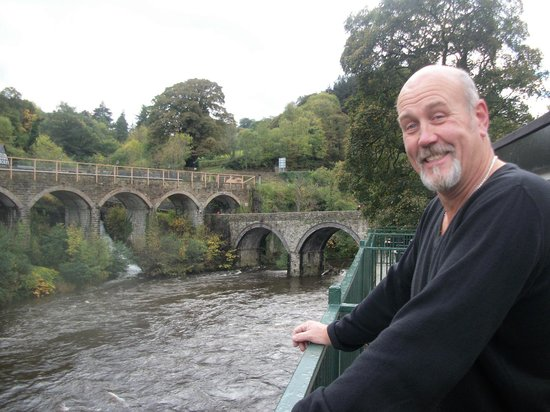 Chainbridge Hotel: The view from our balcony and a very happy husband