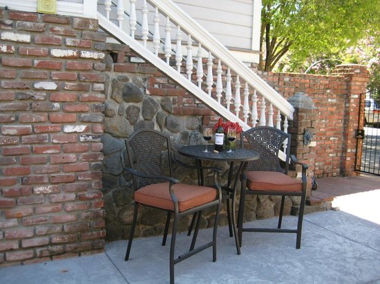 La Belle Epoque: Enjoy a glass of wine on our patio