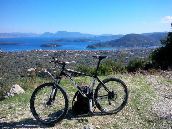 Get Active Biking Tours: Looking down at Nidri