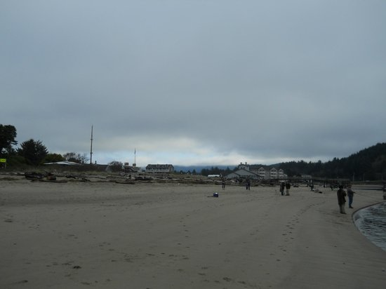 Looking Glass Inn: View from beach, looking back towards hotel