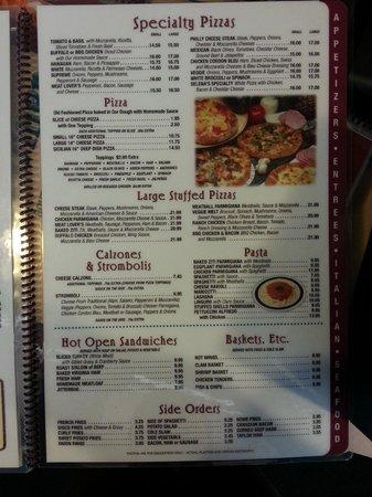 Selena & Nick's Diner: menu