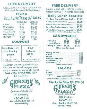 Giorgio s Pizza: Menu