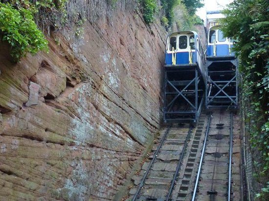 Bridgnorth Castle Hill Railway: Cable Cars Passing Each Other