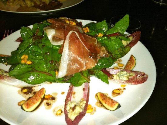 The Grill: Red Spinach Salad with Serrano Ham and Figs