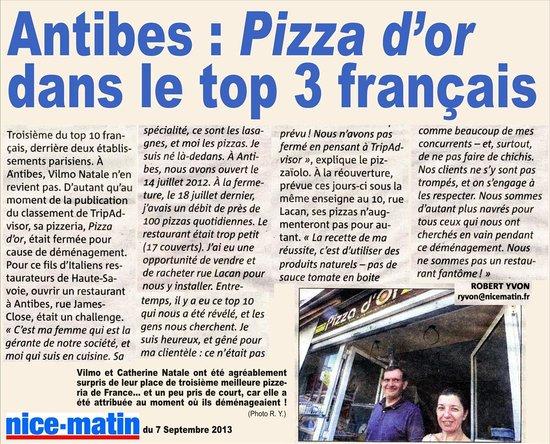 PIZZA D'OR DANS LE TOP 3 FRANCAIS