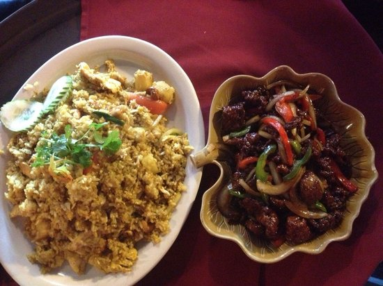 Asian 1: Pineapple fried rice and Mongolian beef