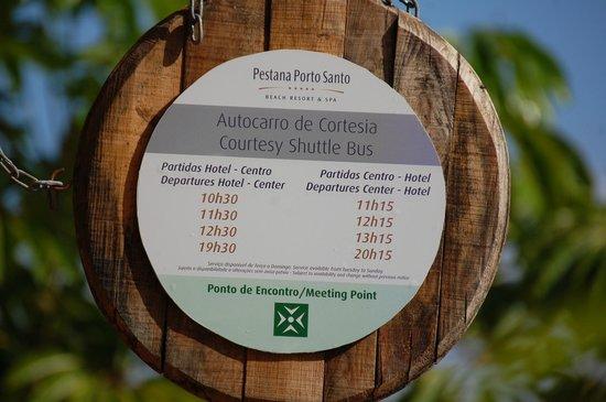 Pestana Porto Santo All Inclusive: Courtesy Bus Timetable