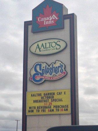 Sign out on the highway. AALTOS Garden Cafe  |  2401 Saskatchewan Ave. W., Portage la Prairie, M