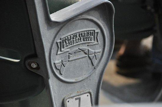 Whataburger Field : Cast insignia on stadium seat.