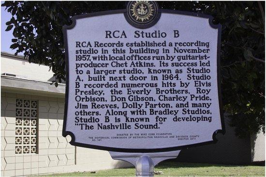 RCA Studio B: Sign Outside Studio B