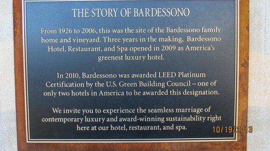 Bardessono: Description of Hotel