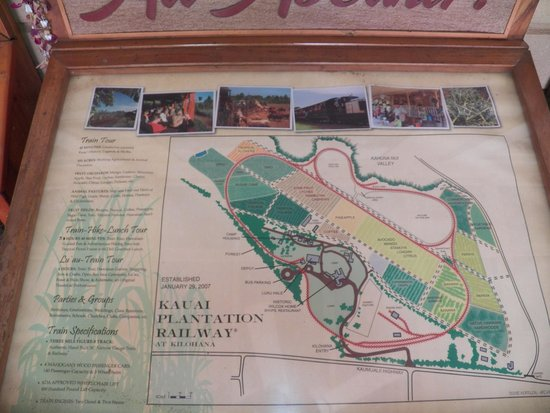 Kauai Plantation Railway: Map of rail line