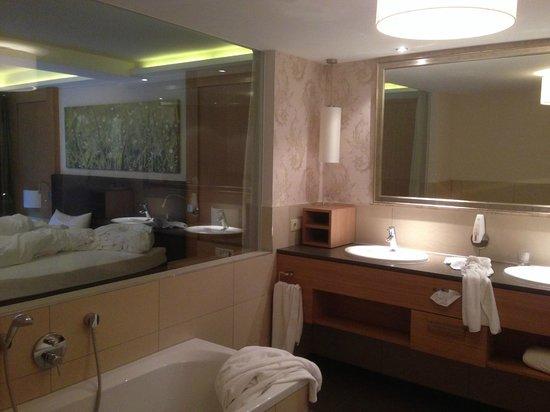 Wellness & Relax Hotel Milderer Hof: Full bathroom with glass to master room