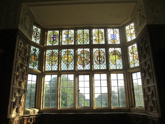 Montacute House: The Great Chamber with heraldic stained glass