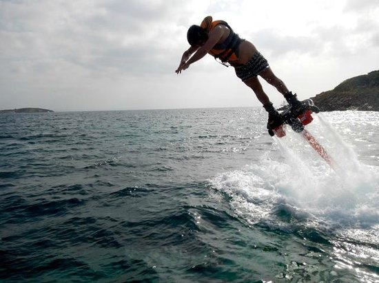 Flyboard Mallorca: One of the group jumping like a dolphin!!