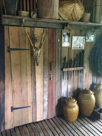 The Kebun: the door to our room in the longhouse