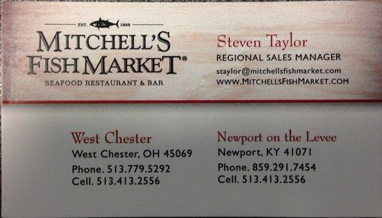 Mitchells Fish Market Carte De Visite Du Restaurant