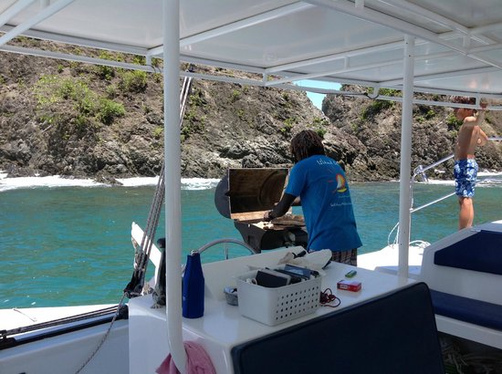 Birdie's Nest: Cooking lunch for us on the boat