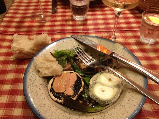 Bistrot Les Tontons : Galipettes: local mushrooms topped with fois gras, chevre and rillettes