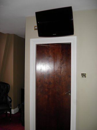 The Briar Rose Hotel: TV above bathroom door