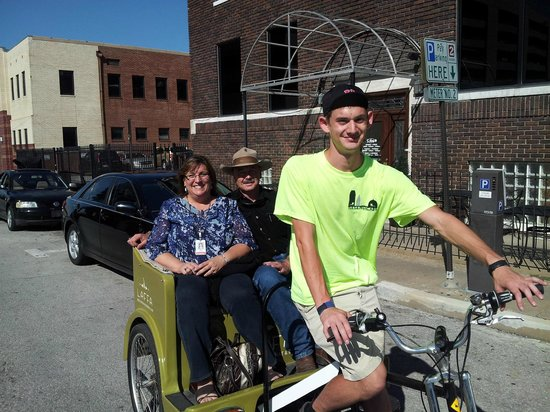 Tulsa Pedicabs Restaurant Tours : These folks are enjoying a Pedicab Restaurant Tour and a concert at the BOK Center!