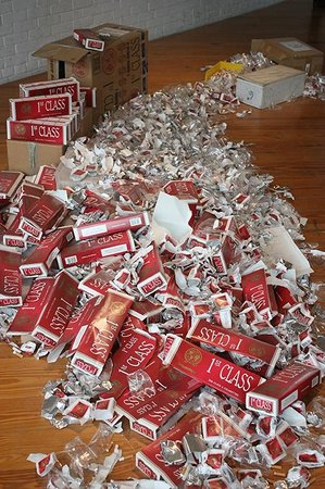 MASS MoCA: Discarded cigarette packages used in the Xu Bing Carpet Rug exhibit.