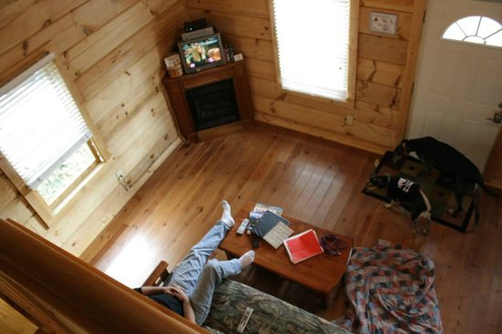 Mountain View Lodge and Cabins: A look from the loft into the living area