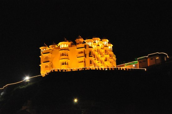 Bhairav Garh Palace: view of the hotel from below the hill where the procession started