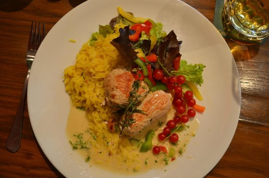 ACC Cafe Galerie: Cashew stuffed turkey breast on curry rice with coconut sauce
