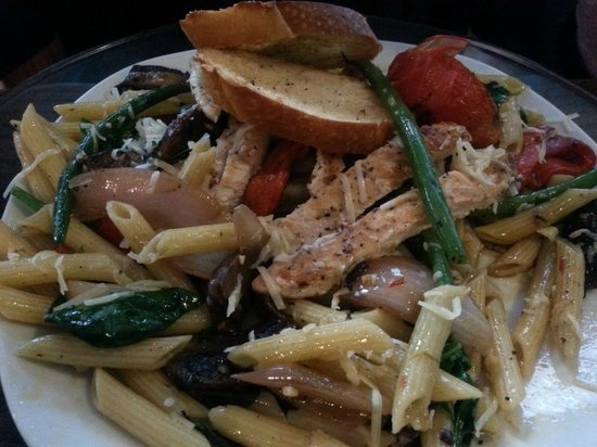 Rhubarb House: Penne Pasta w/marinated grilled vegetables served with fresh parmesan cheese