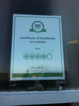 Miricia: Certificate of excellence.
