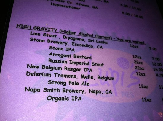 Lupi's Pizza Pies: Beer List